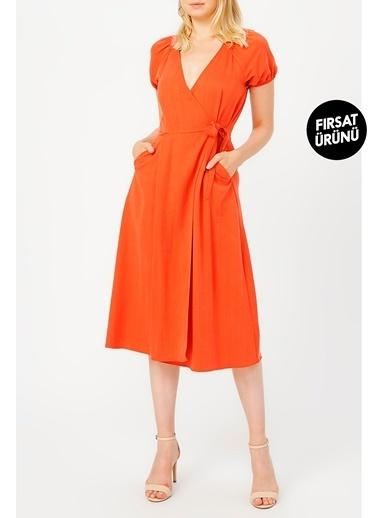 Random Kadın Anvelop Kapama Gipe Detaylı Cepli Elbise Oranj